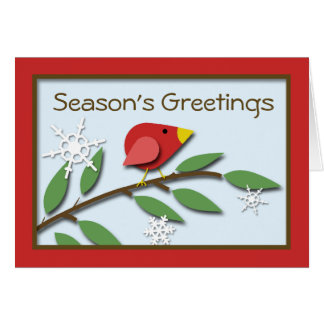"""Red Bird on a Branch """"Season's Greetings"""" Card"""