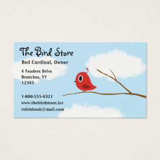 Red Bird on a Tree Branch with Cloudy Sky Business Card