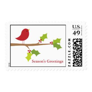 Red Bird on Branch Stamp