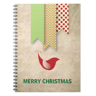 Red Bird & Patterned Ribbons Christmas Notebook