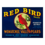 Red Bird Pear Crate LabelPashastin, WA Poster