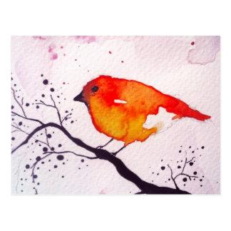 Red bird postcard
