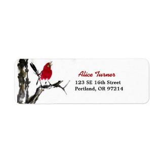 Red Bird Return Address Label
