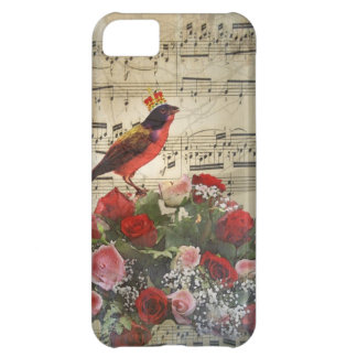Red bird, & roses on vintage music sheet case for iPhone 5C