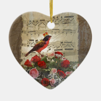 Red bird,  & roses  on vintage music sheet ceramic ornament