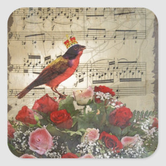 Red bird,  & roses  on vintage music sheet square sticker