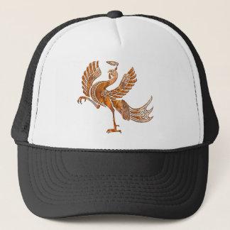 Red bird rust blk trucker hat