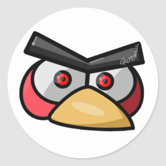 Red Bird Round Stickers