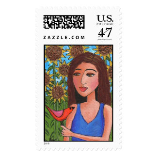 Red Bird & Sunflowers - Stamp