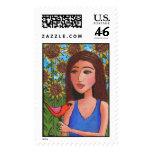 Red Bird & Sunflowers - Stamp