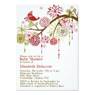 Red Bird Whimsical Winter Baby Shower Invitation