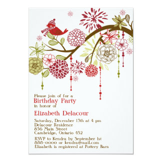 "Red Bird Whimsical Winter Birthday Invitation 5"" X 7"" Invitation Card"