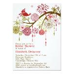 "Red Bird Whimsical Winter Bridal Shower Invitation 5"" X 7"" Invitation Card"