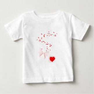 Red Birds Butterfly & Heart Baby T-Shirt