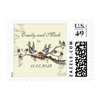 Red Birds Cherry Blossom on Cream Wedding Postage