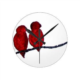 Red Birds clock,  Copyright Karen J Williams Round Clock
