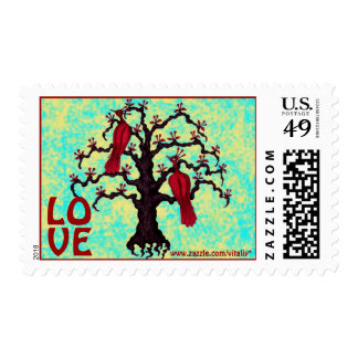 Red birds in love graphic art cool stamp design