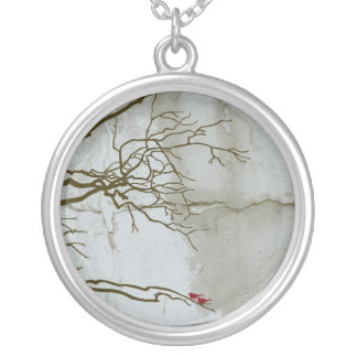 Red Birds in Tree Round Pendant Necklace