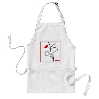 RED birds on abstraction black flower Adult Apron
