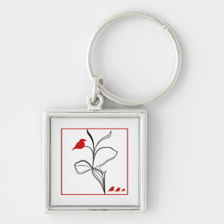 RED birds on abstraction black flower Keychain