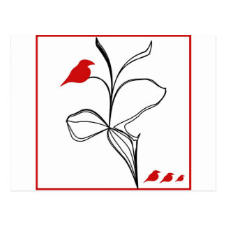RED birds on abstraction black flower Postcard