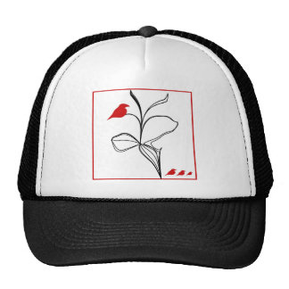 RED birds on abstraction black flower Trucker Hat