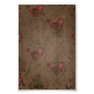Red Birds on Brown Rustic Background Poster