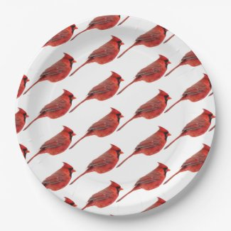 Red birds paper plate