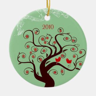 Red Birds Swirl Tree Christmas Ornament