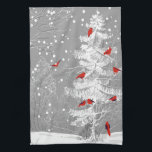 """Red Birds, White Christmas Kitchen Towel<br><div class=""""desc"""">This hard working dishtowel looks beautiful as a decorative piece and as a dish towel drying your dishes.  The while and grey of the pine tree,  snow and background are beautiful with the red Cardinal looking birds.  Whimsical and classical.  Enjoy!</div>"""