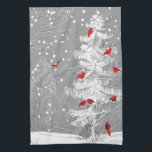 "Red Birds, White Christmas Kitchen Towel<br><div class=""desc"">This hard working dishtowel looks beautiful as a decorative piece and as a dish towel drying your dishes.  The while and grey of the pine tree,  snow and background are beautiful with the red Cardinal looking birds.  Whimsical and classical.  Enjoy!</div>"