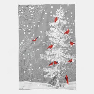 Red Birds, White Christmas Kitchen Towel