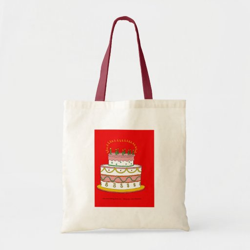 Red Birthday Cake Budget Tote Bag