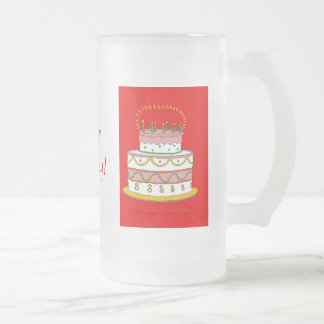 Red Birthday Cake Frosted Glass Beer Mug