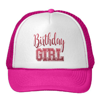 Red Birthday Girl Text Trucker Hat