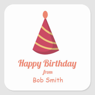 Red Birthday Party Hat Square Sticker