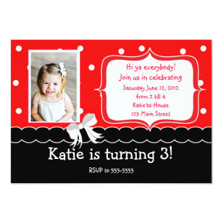 "Red Birthday Party invitation 5"" X 7"" Invitation Card"