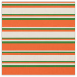 [ Thumbnail: Red, Bisque & Dark Green Striped/Lined Pattern Fabric ]