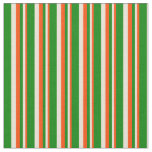 [ Thumbnail: Red, Bisque & Green Colored Striped Pattern Fabric ]