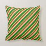 [ Thumbnail: Red, Bisque & Green Colored Striped Pattern Pillow ]
