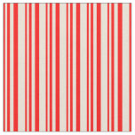 [ Thumbnail: Red & Bisque Striped/Lined Pattern Fabric ]