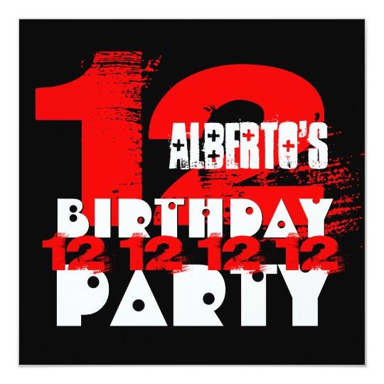 RED BLACK 12th Birthday Party 12 Year Old V03 Invitation