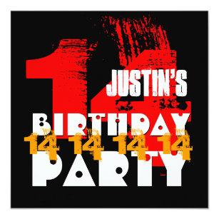 RED BLACK 14th Birthday Party 14 Year Old V06 Invitation