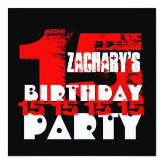 RED BLACK 15th Birthday Party 15 Year Old V07 Card