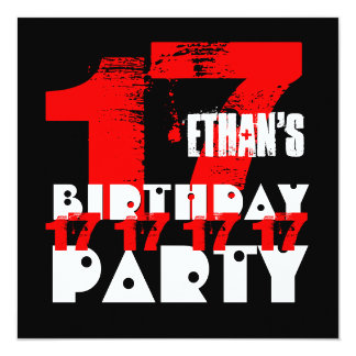 RED BLACK 17th Birthday Party 17 Year Old V09 5.25x5.25 Square Paper Invitation Card