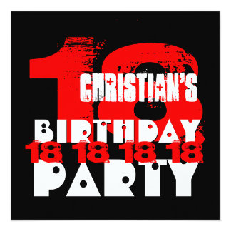 RED BLACK 18th Birthday Party 18 Year Old V10 Card