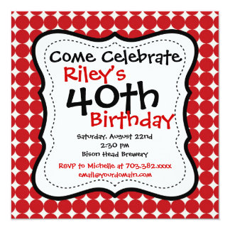 Red Black 40th Birthday Party Invitations