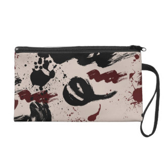 Red Black Abstract Wristlet Purses