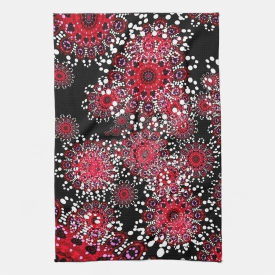 Red+Black Abstract Batik Art Tea Towel