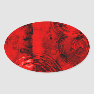 Red/Black Abstract Oval Sticker